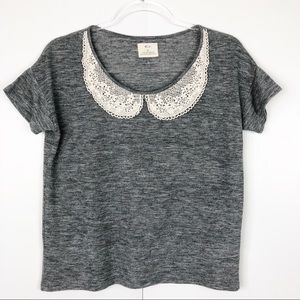 Anthropologie Pins And Needles Lace neck tee